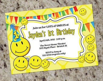 Smily Face Birthday Party Invitations | Smiley Party | Smiley Face Party | Smiles 1st Birthday Invitation | Smiley Themed Party Invitation