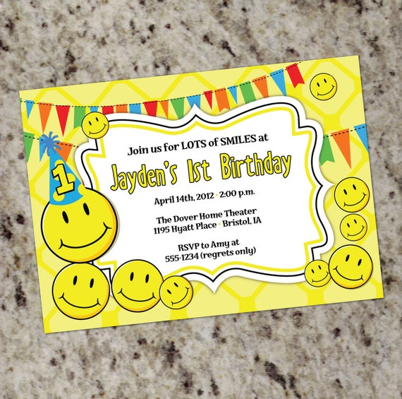 Smily Face Birthday Party Invitations Smiley Party Smiley