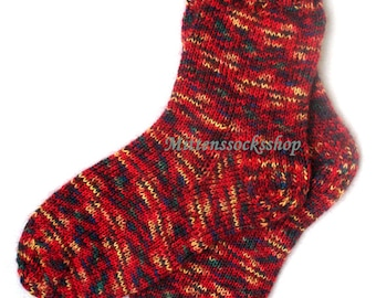 Red Green Yellow Hand Knitted Socks from Sock Yarn with Kid Mohair Sleeping Socks Mohair Socks Warm Women's Socks Bright Socks Winter Socks