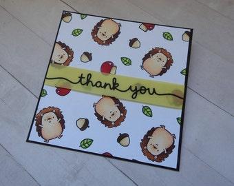 Hedgehog Thank You Card - Happy Hedgehogs - Thank You Card - Hedgehogs - Handmade Card