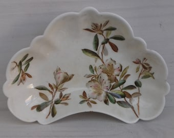 """Pretty """"Azalea"""" fluted kidney shaped trinket dish/candy bowl. Made by George Jones and sons, Crescent china."""