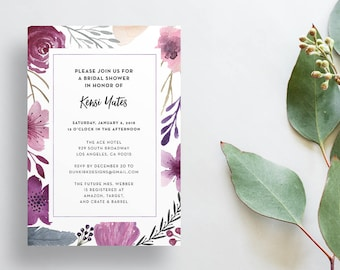 Watercolor Floral Shower Invites / Purple Floral / Calligraphy / Semi-Custom Party Bridal Shower Invites / Printed Invitations