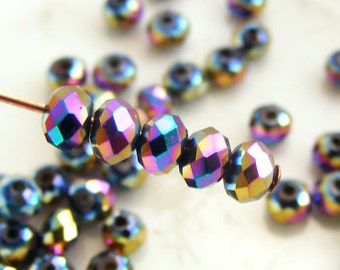 Crystal Beads 3x2mm Faceted Rondelles Metallic Rainbow Abacus (Qty 25) MW-3x2R-MR