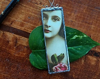 Recycled Altered Art Pendant Adornment Victorian Girl With or Without Silver Chain