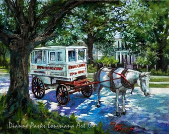 Roman Candy, The Taffy Man, Candy Man Seller, Horse and Carriage, New Orleans Painting by New Orleans Artist Dianne Parks  FREE SHIPPING!