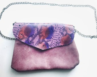 Vintage inspired Pink Leather Purse