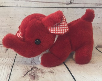 """Vintage Fun World Elephant Plush, Red, with Bow and Polka Dot Ears, Elephant Stuffed Animal, 9"""", Vintage Toy, Childrens Toy"""