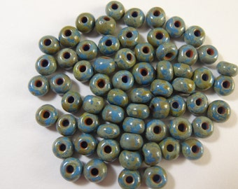 2/0 Denim Blue Opaque Picasso Czech Glass Seed Bead  10 Gram