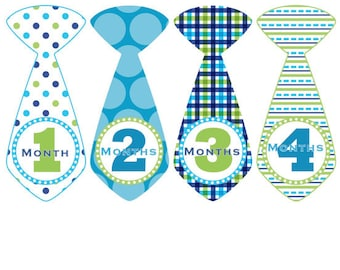 Monthly Baby Stickers INSTNAT DOWNLOAD Baby Month Stickers Monthly Blue Green Boy Tie Monthly Stickers Baby Shower Gift Photo Prop Eddie2