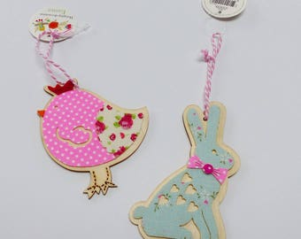 2 ornaments Easter chick in wood and fabric Easter bunny rabbit