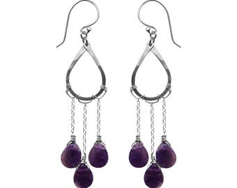 Raindrop earrings, amethyst and sterling silver