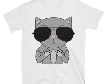 Cat Middle Finger Shirt, Cat Humor Tee, Cat With Sunglasses, Cat Middle Finger, Cat Tshirt Men, Unique Cat Shirt, Funny Cat Shirt,Cat Tshirt