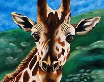 Giraffe Giclee, Limited Edition Print, Children's Room Canvas Art, Safari Zoo Animal Artwork, Boy Playroom, Giraffe Nursery Art, Baby Decor
