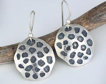 Sterling Silver Lotus Seed Pod Earrings, Dangle Earrings, Jewelry Gift, Jewelrybynaomi, mothers day gift, post earrings, textured earrings