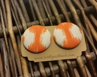 Orange & White fabric earrings