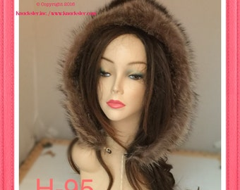 H-95 Detachable New Gray Raccoon Fur Hood Hat Cloche