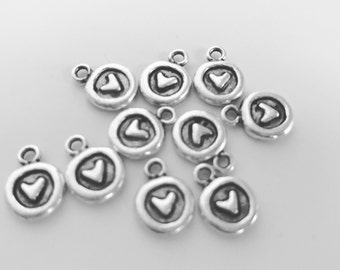 NEW***Itsy Circle Heart Charm- Antique Silver (set of 2)