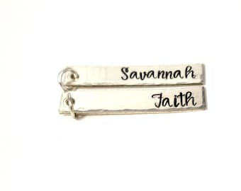 Personalized Bar Charm - Sterling Silver Bar Charm -Name Charm - Name Jewelry - Add On Charm - Personalized Charm