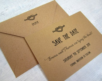 Tying the knot save the date card / Tie the Knot Save the Date invite /Rustic Wedding / Kraft wedding Save the Date card/heart knot/ SAMPLE