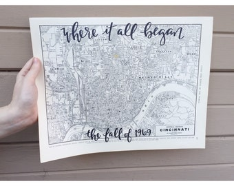 Vintage CITY LAYOUT Maps   Personalized Calligraphy Map   Hand Lettered Map   Original Map   handlettered map   custom map