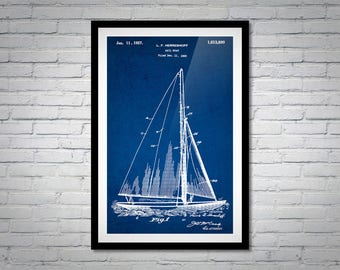 Sailboat blueprint etsy sailboat patent blueprint instant download set of 5 patent wall art files vintage sailboat poster print sailing love gift idea malvernweather Image collections
