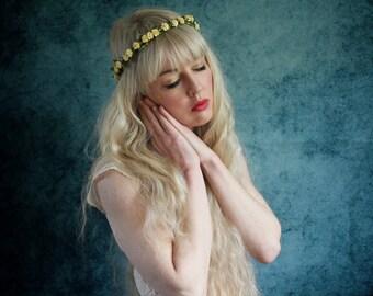 Pale yellow mini rose hairband,  summer flower crown, rose headband