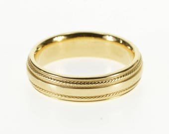 14k Rounded Rope Milgrain Patterned Wedding Band Ring Gold