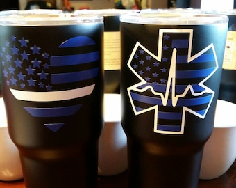 EMS thin white line flag tumbler!! 30oz. Perfect for your favorite EMS/wife!! Matte black RTIC! Star of Life!