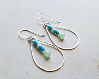 Turquoise Teardrop Earrings, Bright Green Hoop Earrings, Sleeping Beauty Turquoise Dangle:  Ready Made