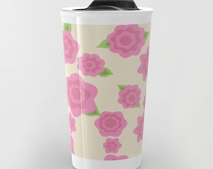 Pink Flower Travel Mug - Flower Pink Art  - Coffee Travel Mug - Hot or Cold Travel Mug - 12oz Travel Mug -Made to Order