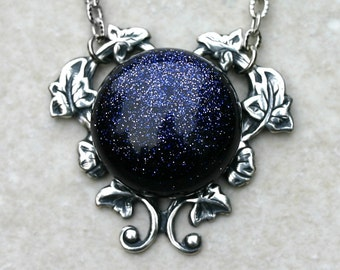 Constellation Necklace with Blue Goldstone Opal