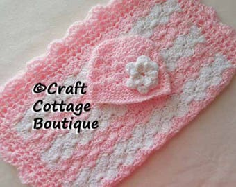 Baby Shower Gift Set -Crochet Baby Blanket & Hat with Flower - Light Pink and White - Travel / Stroller / Car Seat / Crib - Baby Girl - Knit