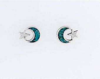 Sterling Silver Turquoise Moon & Star Post or Stud Earrings