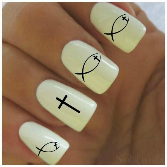 Nail Decals 20 Cross Vinyl Decals Christian SYmbol Nail Tattoos Nail ...