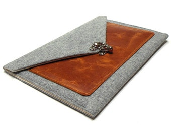 iPad Air case with a pocket - gray tweed