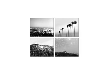 SALE, California Print Set - Los Angeles Photography - Hollywood Sign Palm Trees - Black and White Prints