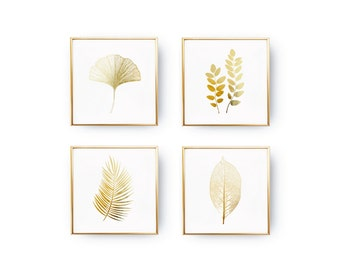 SET of 4 Prints, Leaves Prints, Botanical Leaves, Minimalist Art, Real Gold Foil, Leaves Set, Modern Wall Print, Botanical Poster Set,