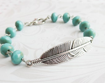 Blue feather bracelet, bohemian beaded bracelet, turquoise blue boho jewelry, gifts for her, mom gift, wife gift
