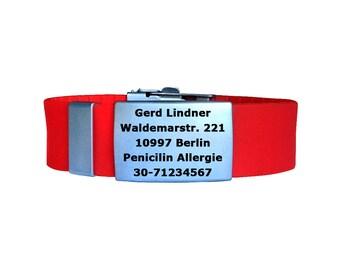 FREE Engraving Custom Silicone Steel ID Emergency Bracelet Medical Alert ID