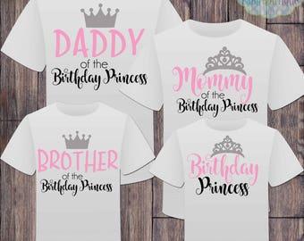 Birthday Princess Family Tshirts - Matching Family Birthday Princess - Princess Crown