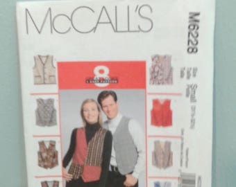 Misses and Men's Lined Vests with Variations - McCall's Sewing Pattern 6228 - Sizes Sml - Lrg