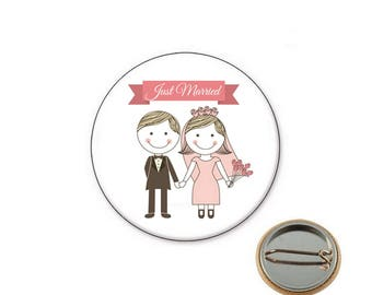 Just married - wedding Ø25mm pin badge