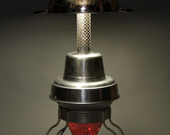 Lamp from upcycled and vintage kitchen and automotive components