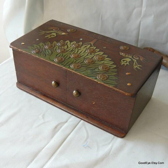 Vintage collins wooden glove box purse money tree ec