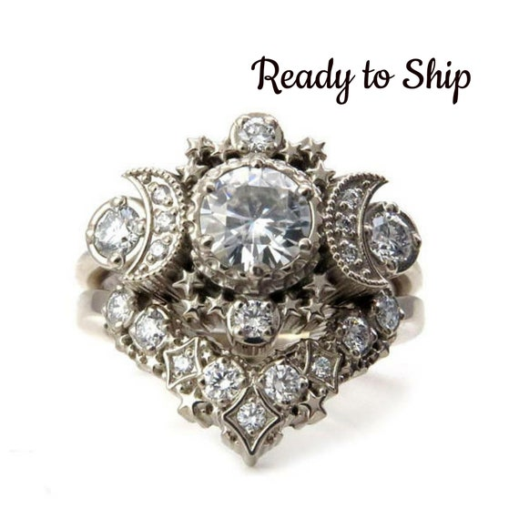 Ready to Ship Size 6-8 Diamond Cosmos Moon Engagement Ring Set - Moissanite and Diamonds 14k Palladium White Gold Wedding Rings