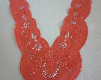 Teal,Coral,Purple Cotton Bib Applique /Craft Venise Sequin Floral Embroidered Applique Trim Decorated Lace Neckline Collar Sewing