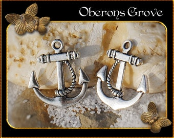 6  anchor  charms silver 23x20mm
