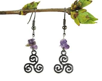 Pagan wiccan earrings, amethyst jewelry, wiccan pagan jewelry, handmade gunmetal earrings, triskele symbol jewelry, amethyst earrings, trisk