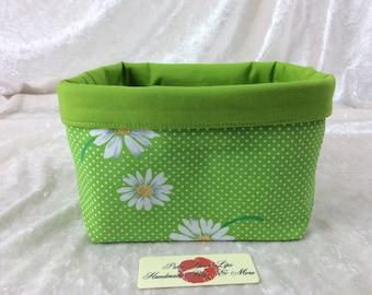 Handmade Fabric Basket Storage Bin short Daisy Green Daisies