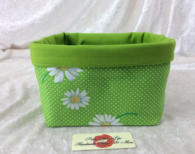 Handmade Fabric Basket Storage Bin short Daisy Green Daisies